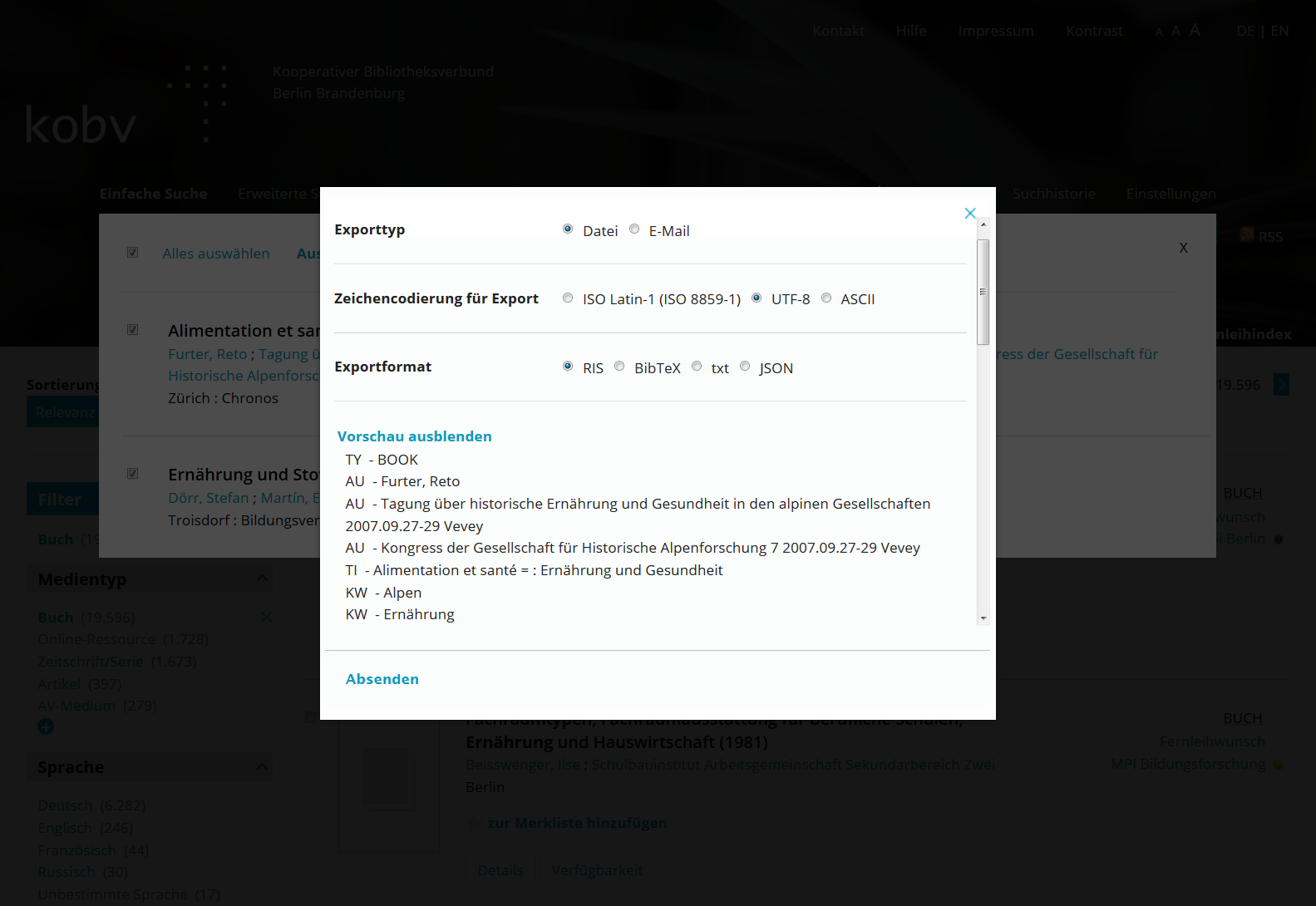 KOBV Portal_Exportvorschau